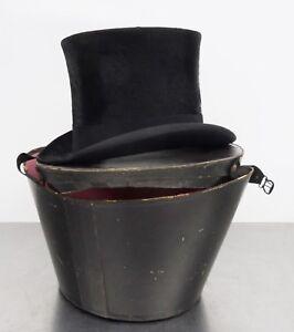 Antiker-Hut-Zylinderhut-mit-Hutbox-Top-Hat-Dachshaar-Zylinder-54-5cm-1900