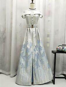 Retro-Jacquard-Victorian-Vintage-Off-Shoulder-Party-Occasion-Dress-UK-16