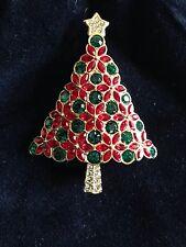 Swarovski Christmas Tree Pin Brooch Signed - BEAUTIFUL! - New