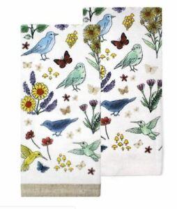 Birds-Butterflies-amp-Flowers-Hand-Towels-Cotton-Terry-Kitchen-Bath-Set-of-2-NEW
