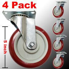 4 Pack 5 In Polyurethane Heavy Duty Swivel Caster Wheels