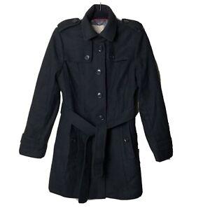 BANANA-REPUBLIC-Women-039-s-Small-WOOL-TRENCH-COAT-Fully-Lined-ITALIAN-FABRIC-Black