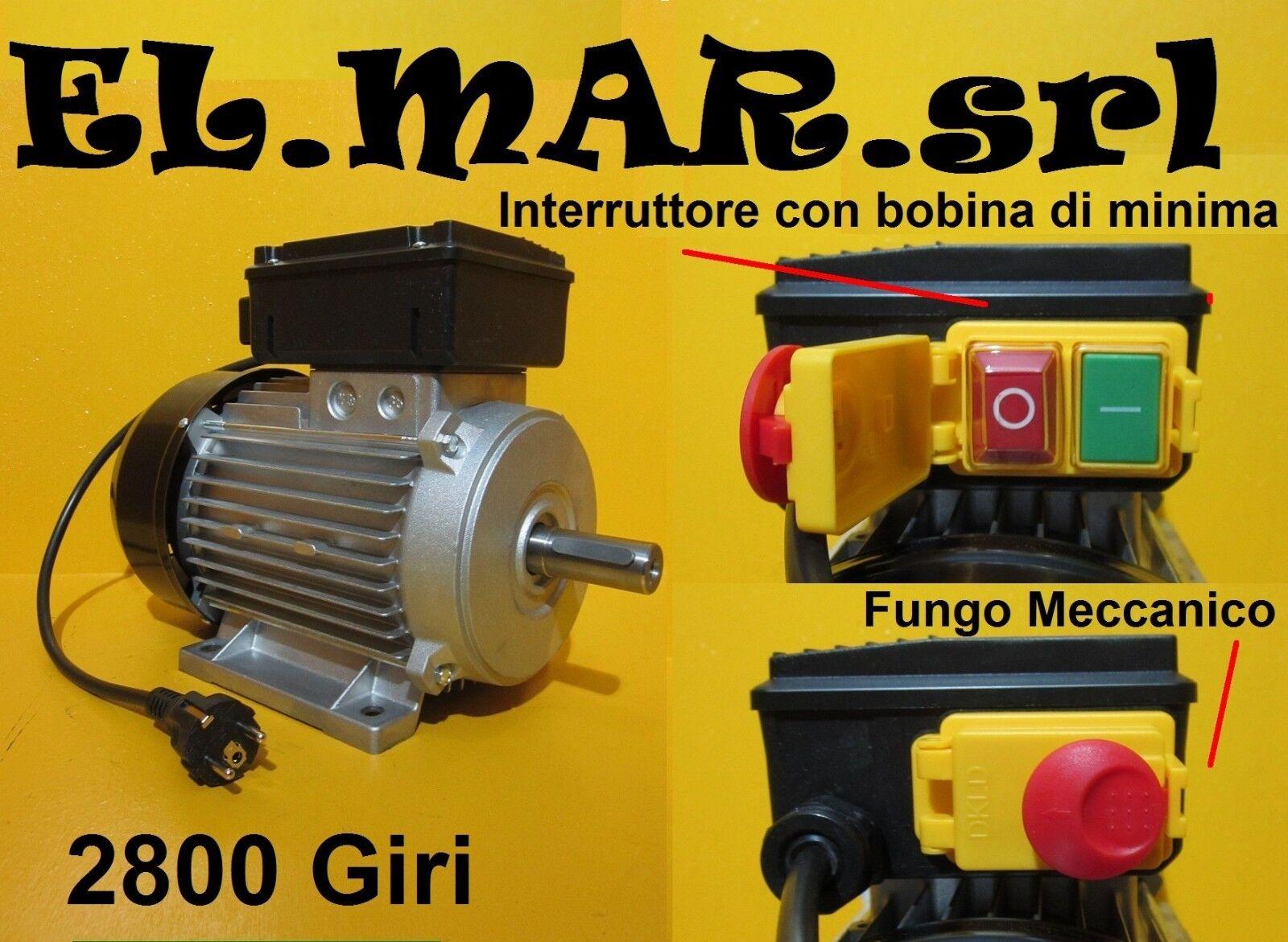 Motor elektrische einphasig 2800 rpm + Schalter mit Spule minimum + Pilz