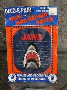 vintage Deco-R-Pair JAWS BLUE JEAN REPAIR IRON-ON PATCH new/sealed