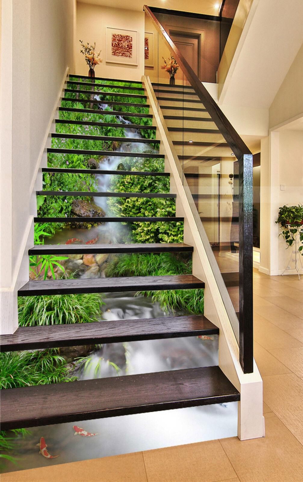 3D Bach Wald 369 Stair Risers Dekoration Fototapete Vinyl Aufkleber Tapete DE