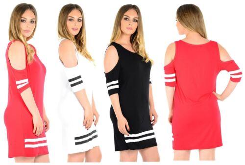 New Womens Cold Shoulder Stripe Base Ball Tunic Dress 8-22