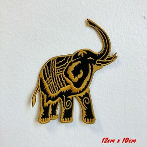 Grand-Animal-Happy-Mammoth-Jaune-Brode-Repasser-Patch-a-Coudre-183