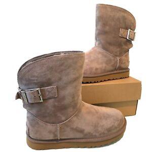 Stivali-UGG-DONNA-TG-UK-5-e-6-STORMY-Grigio-Boine-fibbia-in-pelle-scamosciata-in-Scatola