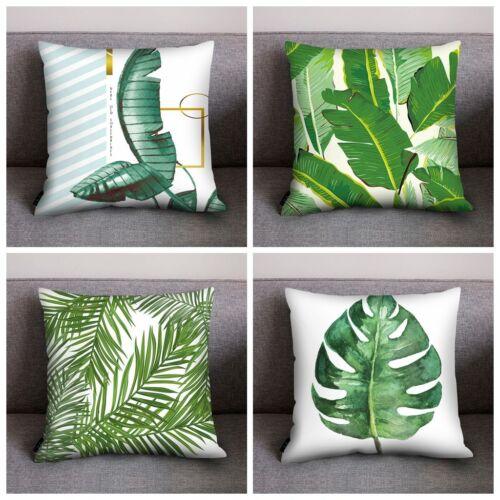 4Pc//set Tropical Plant Green Leaves Pillow Case Soft Cushion Cover Home Decor JA