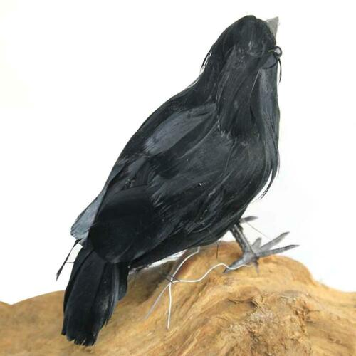 Realistic Halloween Crow Props Decoration Bird Black Feathered Crows Ornaments