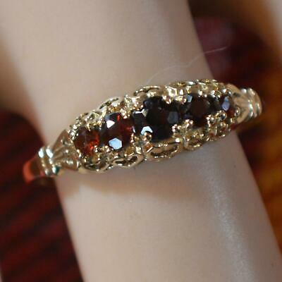 9 ct GOLD second hand 5 stone garnet ring | eBay