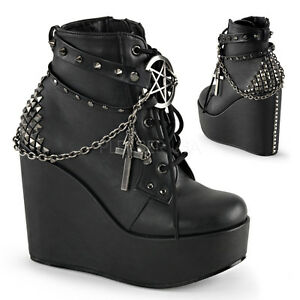c5e31e294fc Details about DEMONIA Womens Wedge Platform Cross Chains Goth Punk Gothic  Ankle Boots Booties