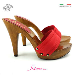 comprare popolare 6f40a 21b22 Details about Red Hooves holzschuhe Made in Italy 35 to 41-Heel 11-k21101  Red- show original title