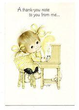 Vintage Hallmark Greeting Card Angel Love Pigtail Girl Writing Note 1970's