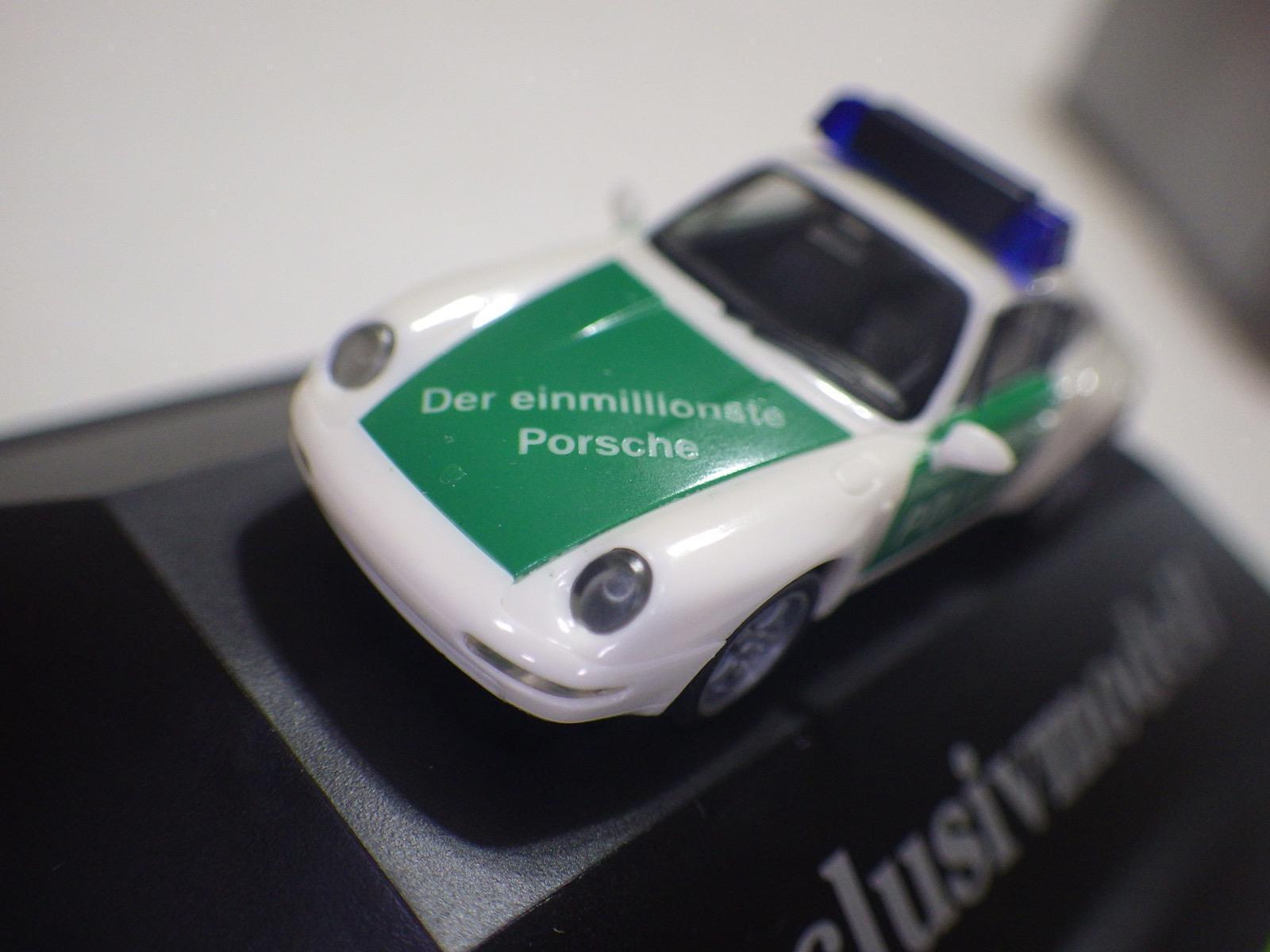 Herpa Exclusiv Serie (Alemania) biancao verde Porsche 911 carrera CPE Polizei 1 87