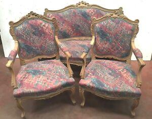 Details zu Mobilier de salon de style Louis XV Canapé et fauteuils rocaille  Chaises