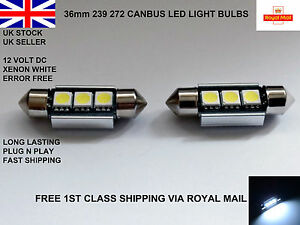 2-X-36mm-Festoon-3-LED-SMD-Numero-De-Matricula-Bombillas-Lamparas-Canbus-Error-Free-12V