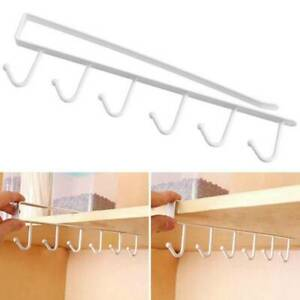 Under Cabinet Shelf Cup Mug Hanger Towel Storage Rack Organizer 6 Hooks