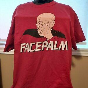 Captain-Luc-Picard-Face-Palm-Tee-Shirt-Star-Trek-XL-New-100-Cotton