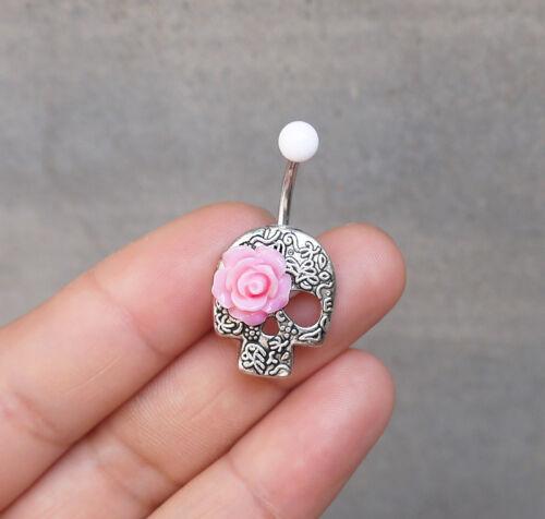 2pcs Day Of The Dead lovely Flower Skull Belly Button Rings Skull Navel jewelry