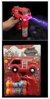 Light Up Fire Truck Bubble Gun With Sound Toy Bottle Bubbles Maker Machine