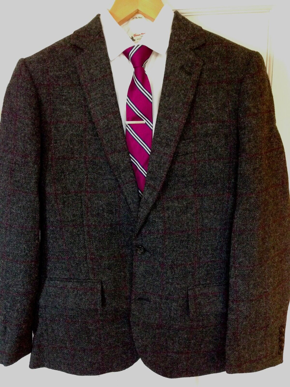 NWT J Crew Ludlow Sportcoat in Windowpane English Wool - Charcoal Size 40S