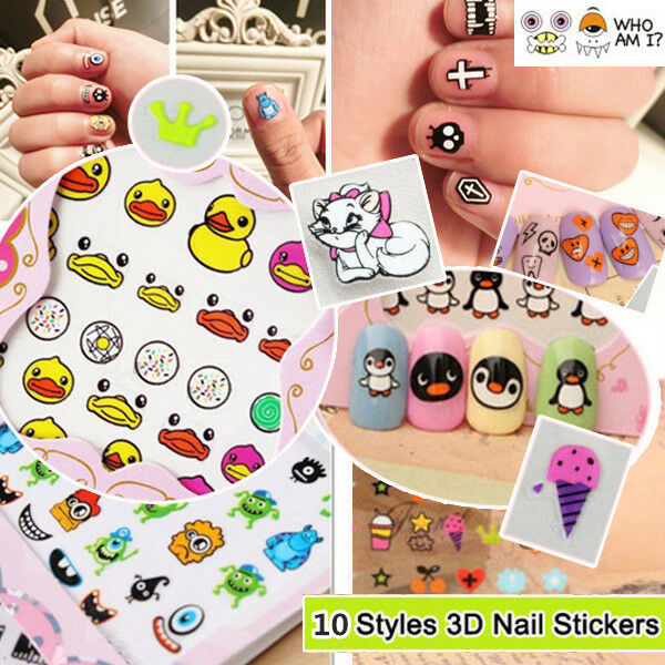3D Mixed Design Decal Stickers Nail Art Acrylic Manicure Tips DIY Decoration HOT