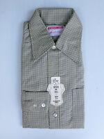 Vintage 1960s/70s Men's Green / Black Check Shirt Long Sleeve Old Stock