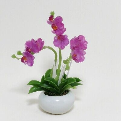 Pink Flower Miniature Phalaenops Orchid Handmade Clay Plant Dollhouse Decor