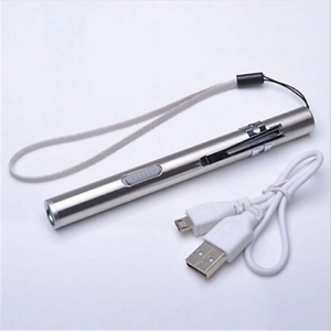 Steel-Lamp-Pocket-Flashlight-Torch-LED-Pen-Size-Q5-USB-Rechargeable-Lamp-500lm