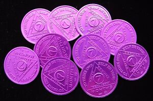Lot Alcoholics Anonymous AA 7 Month Aluminum Medallion Coin Chip Token Sober