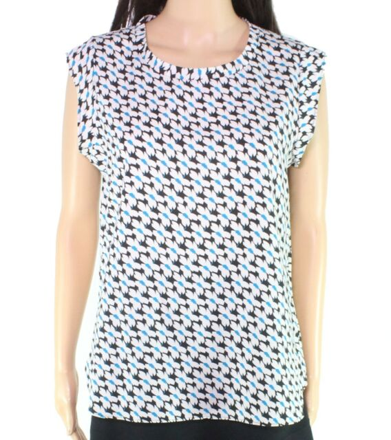 DKNY Women's Blouse White Size XL Floral Print Scoop Neck Pullover $59 #290