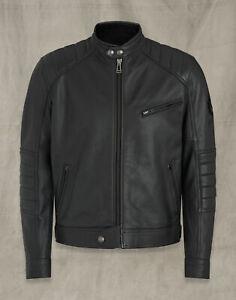 "Belstaff homme en cuir perfecto Riser Noir Grande 42"" RRP £ 695"