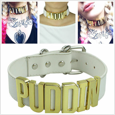 Puddin Choker Necklace Collar for Women and Girls Halloween Birthday Party Cosplay BUUFAN Pu Leather Choker Necklace for Haley Quinn Cosplay,for Movies Suicide Squad Custume Accessiores