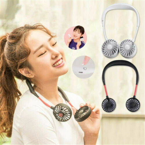 3 vitesses Portable Double Ventilateur Lazy Neck Band Hanging Rechargeable USB Sport Hot