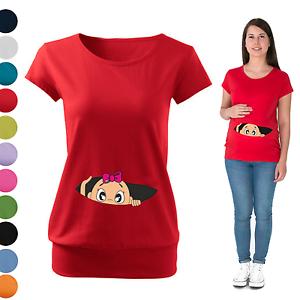 548b621b0d9cf Maternity Pregnancy T-shirt Top Funny PEEK-A-BOO baby shower Peeking ...