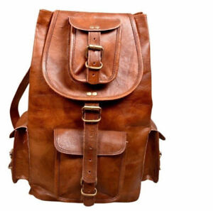 75b8e9aa03 Unisex Genuine Leather Back Pack Rucksack Travel Bag For Men s and ...