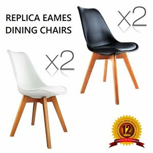 2-X-Replica-Eames-Eiffel-DSW-Dining-Chair-PU-BLACK-or-WHITE-Office-Kitchen-Dine