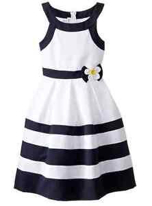 Bonnie Jean Big Girls' Nautical Dressy  Striped Navy Banded Sring  Dress 7-16