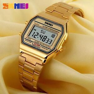 Classic-Vintage-Digital-Women-Men-Watch-Gold-Stainless-Steel-LED-Light-Sport