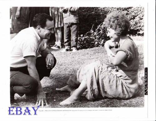Olivia De Havilland barefeet, Director Walter Grauman VINTAGE Phot candid on set