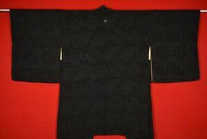 Vintage-Japanese-Kimono-Silk-Antique-BORO-Black-HAORI-Kusakizome-Dyed-VV47-370