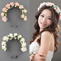 Flower Garland Floral Bridal Headband Hairband Wedding Party Prom Pink/White