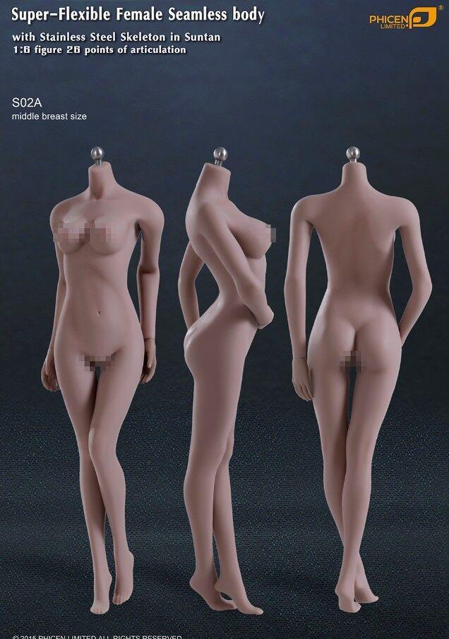 Phicen Super-Flexible Seamless MID bust body w  Steel Skeleton Suntan 1 6 S02A