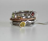 Charriol Tango Gemstone Silver Steel Rose Gold Pvd Cable Ring Sz 6 3/4 $275