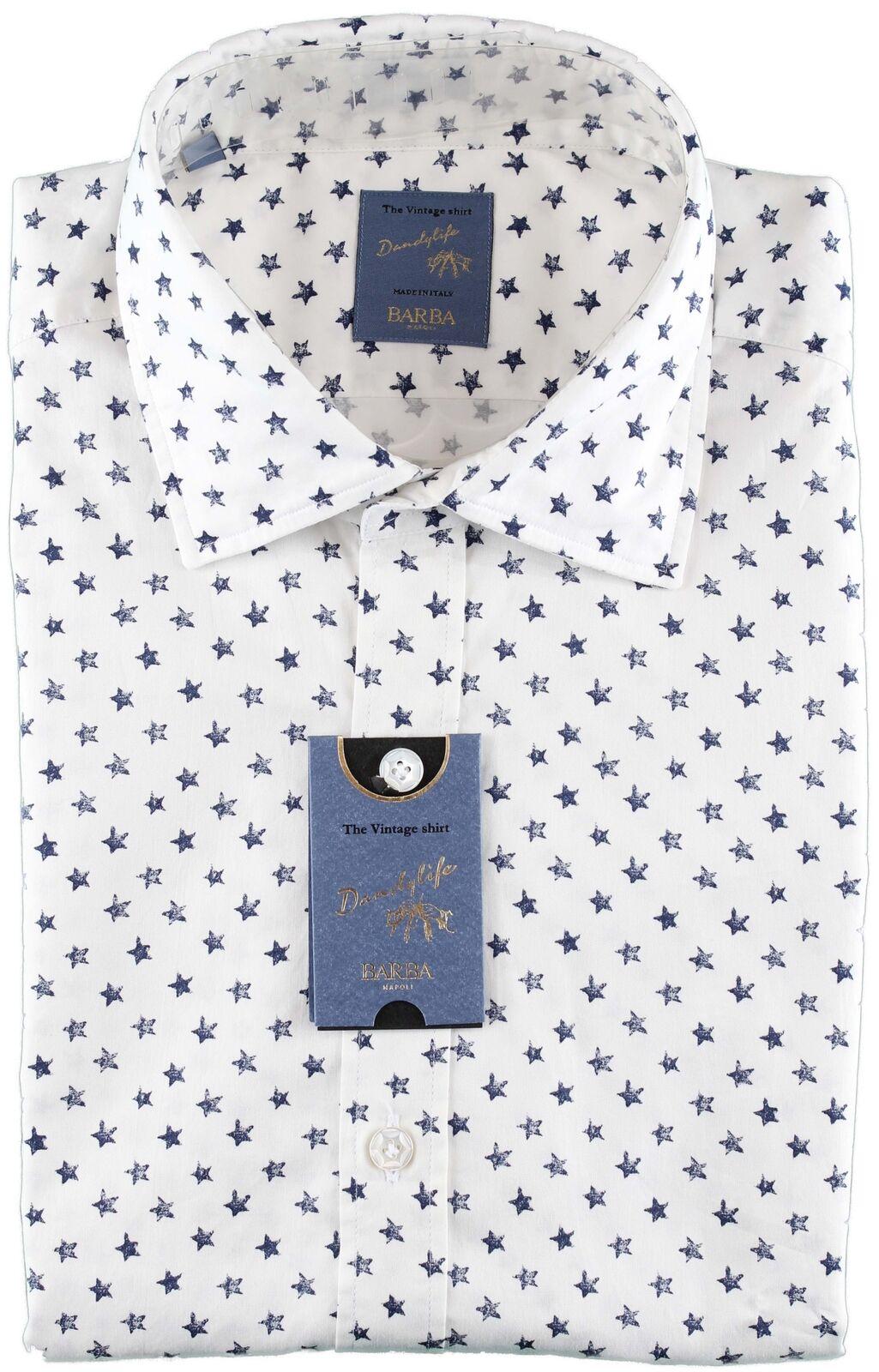 NWT BARBA NAPOLI hemd dandy life stars Weiß Blau handmade 40 15 3 4
