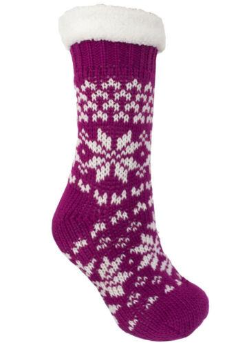 Ladies Fairisle Chunky Knitted Fur Lined Gripper Slipper Socks