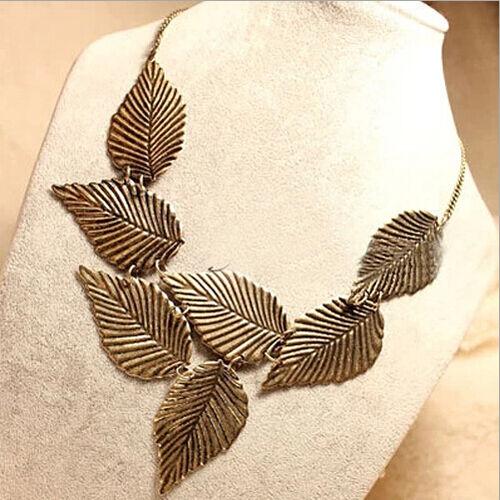 Fashion Trendy Womens Bohemia Leaves Pendant Chain Bib Choker Necklace Jewelry
