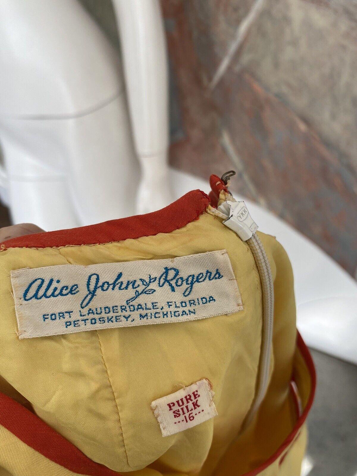 Vintage Alice John Rogers Yellow Silk Pussybow Sh… - image 11