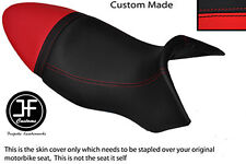 BLACK & RED VINYL CUSTOM FITS BUELL XB9S LIGHTNING 04-09 DUAL SEAT COVER ONLY